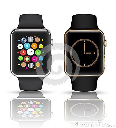 Free Smart Watch  Silver And Gold Color. Royalty Free Stock Photos - 44845338