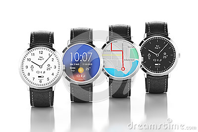 Smart Watches With Different Interfaces Stock Illustration ...