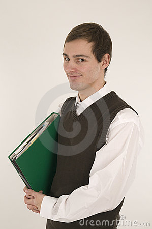Smart young man with green folder