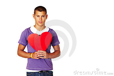 Smart young man holding heart shape sign