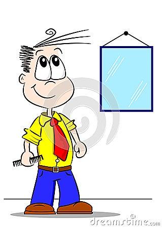 Cartoon Boy with Comb