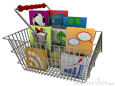 Smartphone apps in shopping basket
