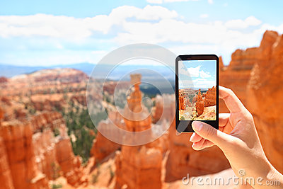 Smartphone camera phone taking photo, Bryce Canyon