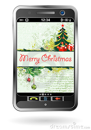 Smartphone with Christmas background