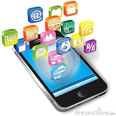 Smartphone con le icone