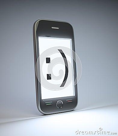 Smartphone con un emoticon di sorriso