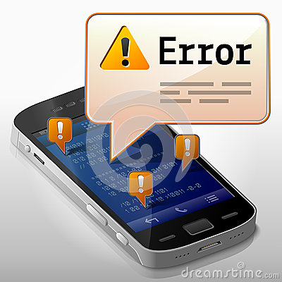 Smartphone with error message bubble
