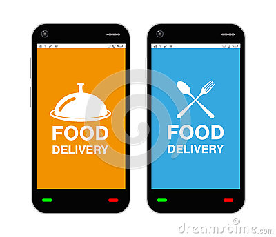 Smartphone with food delivery application logo on screen Vector Illustration