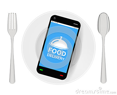 Smartphone with food delivery on dish with folk and spoon Vector Illustration