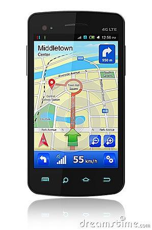 Smartphone with GPS navigation