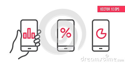 Smartphone with graph Icon, circle chart vector on screen. Vector design Element illustration, line icons. mobile in hand Vector Illustration