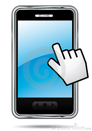 Smartphone with hand cursor.