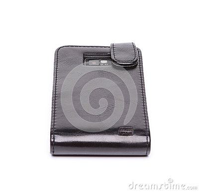 Smartphone in leather case