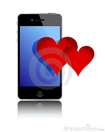 Smartphone and love hearts