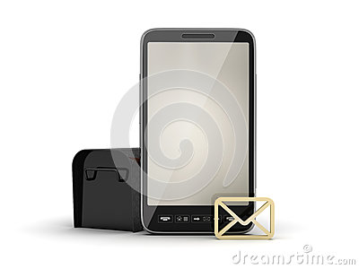 Smartphone, mailbox and shape of envelope