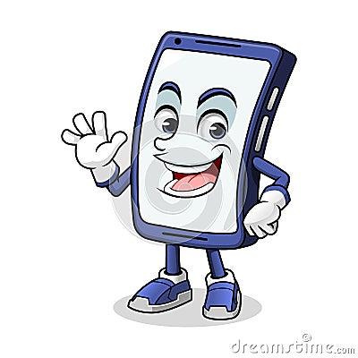 Free Smartphone Mascot Waving Stock Image - 124032191