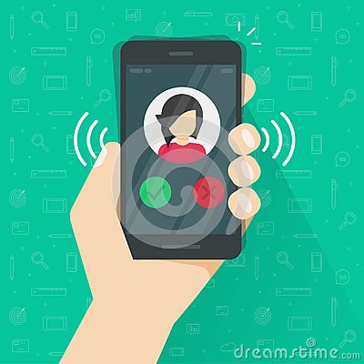 Free Smartphone Or Mobile Phone Ringing Or Calling Vector Illustration, Flat Cartoon Black Cellphone Call Or Vibrate With Stock Image - 110366791