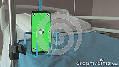 Smartphone in plaats van medische druppel stock footage
