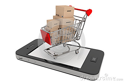 Smartphone and a shopping cart with boxes