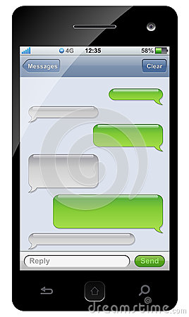Free Smartphone Sms Chat Template Royalty Free Stock Photography - 25780807
