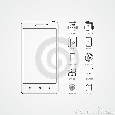 Smartphone specifications with flat line icons Vector Illustration