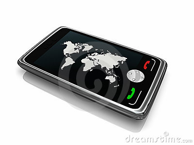 Smartphone with world map