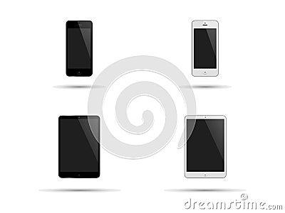 Smartphones et tablette en noir et blanc