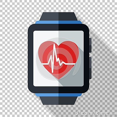 Free Smartwatch With Health Or Fitness Application Icon. Smart Watch Icon In Flat Style On Transparent Background Royalty Free Stock Photography - 130887927