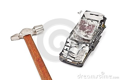 Smashed with a hammer mobile phone