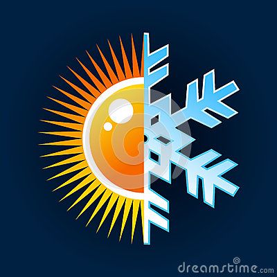 Símbolo caliente y frío de la temperatura