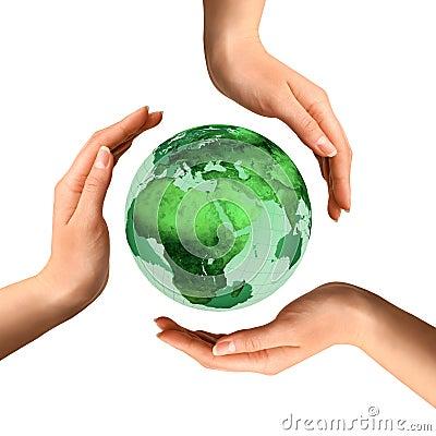 Símbolo de reciclaje conceptual sobre el globo de la tierra