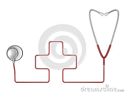 Símbolo do estetoscópio e da cruz vermelha da medicina