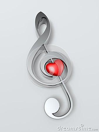 Símbolo e coração de música