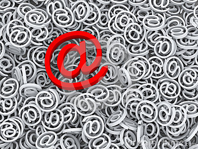Símbolo importante do email da mensagem 3d no sinal