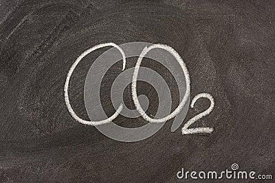 Símbolo químico para el dióxido de carbono en una pizarra