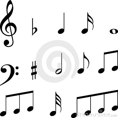 Símbolos de las notas musicales