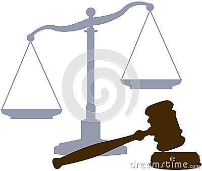 Símbolos legales del sistema judicial de la justicia del mazo de las escalas