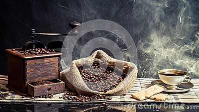 Smell of vintage brewing coffee