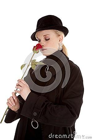 Smelling rose
