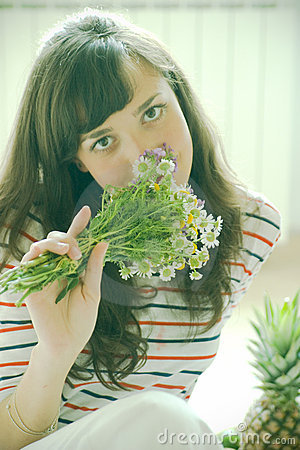 Free Smelling The Flowers Stock Photo - 2713260