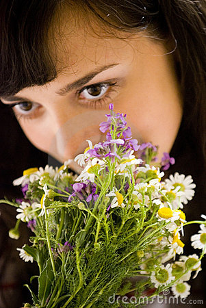 Free Smelling The Flowers Royalty Free Stock Photography - 2716187