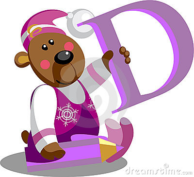 Smile bear with letter D