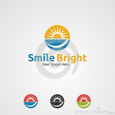 Smile bright with circle sun logo vector, icon, element, and template for company Vector Illustration