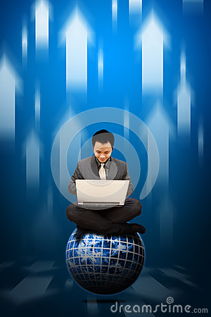 Smile Business man sit on digital earth