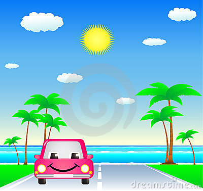 Smile car on resort road