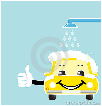 Smile cartoon car in car wash