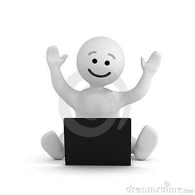 Smile character with laptop