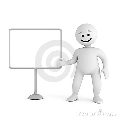 Smile character stay with blank board