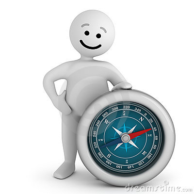 Smile character stay with compass