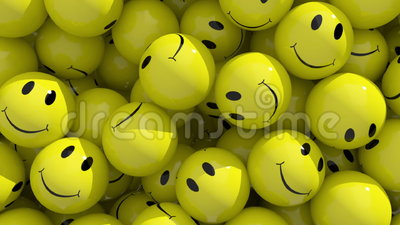 Smile. 3d animation of falling emoticons